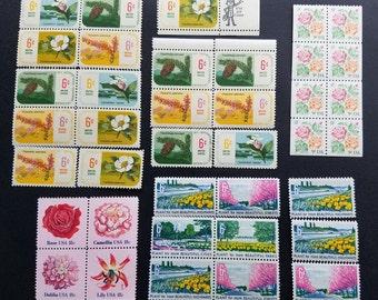 Vintage flower postage stamps for crafting or mailing letters or postcards (ten postcards' worth), face value 3.60