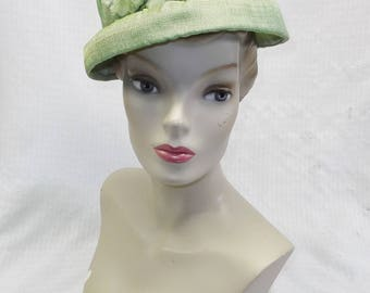 1960s Vintage Green Shantung Lampshade Style Hat with Flowers 22