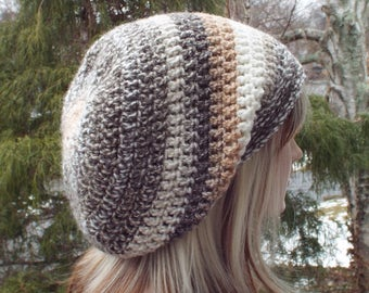 Tan and Brown Slouchy Beanie, Womens Crochet Hat, Boho Slouchy Hat, Oversized Slouch Beanie, Hipster Hat, Slouch Hat, Baggy Beanie
