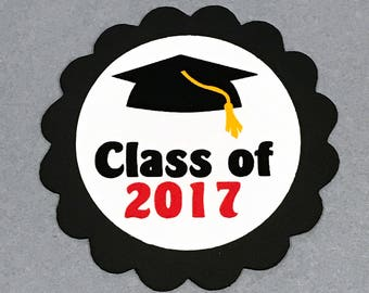 Graduation Favor Tags, Class of 2017, Black and White or Choice of Colors