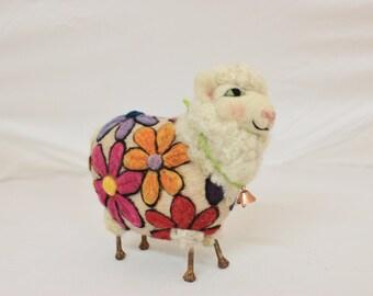 Sheep, Spring Lammies in Jammies, Flower Power Sheep, Needle Felted Sheep Felt Sheep #2371