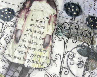 Alice in the garden - applique textile artwork, beaded and unframed