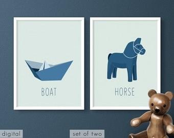 Baby Room Blue Nursery Prints Swedish Dala Horse & Paper Boat Modern Minimalist Boy's Room Decor Blue Playroom Wall Art Set of 2 Printables