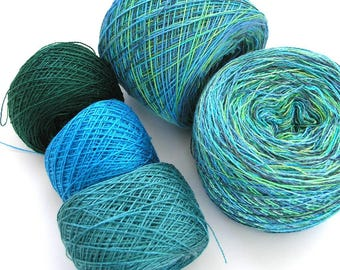 Tencel Yarn Hand Dyed Yarn Scarf Kit for Weaving or Knitting Soft Shiny Tencel and Rayon Cotton Lace Yarn Green Blue 1850 yards - Ocean View