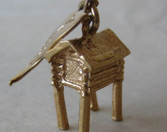Alaska Stilt House Gold Sterling Charm Silver Vintage 925 with Flag Tag Vermeil