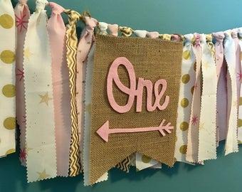 Pink Gold One high chair banner rag tie banner princess twinkle little star polka dot cake smash photo prop 1st birthday banner minnie