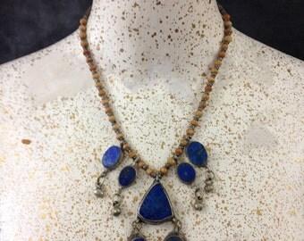 Vintage lapis lazuli Afghani necklace seven drops