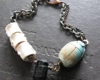 Assemblage Bracelet With Black Quartz and Preserved Fish Vertebrae