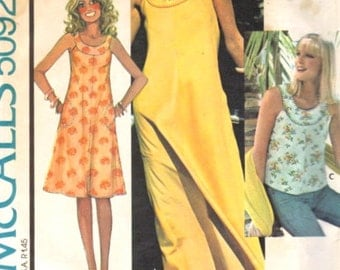 McCalls 5092 1970s Misses Summer Dress or Top Pattern Ring Collar Womens Vintage Sewing Pattern Size Petite 6 8 Bust 30 31 NO ENVELOPE