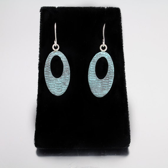 Rustic Blue Patinated Oval Textured Dangles
