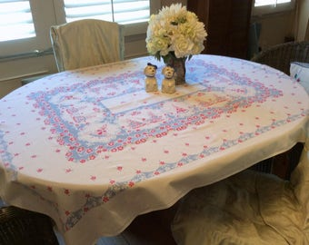 Vintage Tablecloth Southern Belles in a RWB Rose Garden