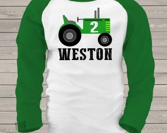 birthday tractor kids personalized birthday raglan shirt MBD-010-R