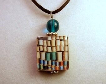 Sewing Thread Pendant / SCRABBLE Jewelry / Handmade / Beaded Charm