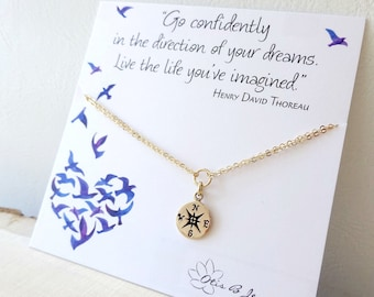 Compass BRACELET, High school grad gift, college graduation gift for her, otis b, Go Confidently Thoreau quote, congratulations graduate