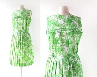 Vintage 1960s Dress | Verdant Blooms | Floral Print Dress | 60s Dress | M L