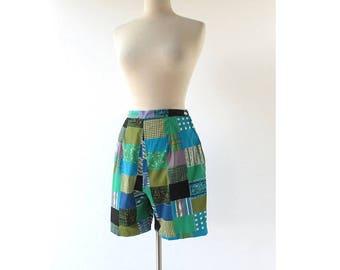 Vintage 1950s Shorts | Patchwork Picnic | 50s Shorts | 29W S M