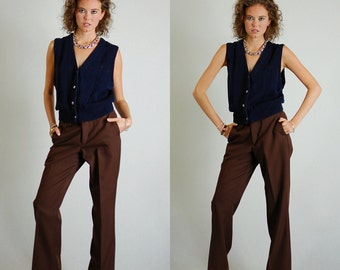 Preppy Vest Vintage Dark Blue Button Up Preppy Grandpa Sweater Vest (m l)