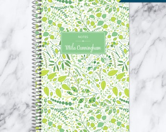 NOTEBOOK personalized journal | lined notebook | personalized gift | stocking stuffer | spiral bound notebook | green leaves