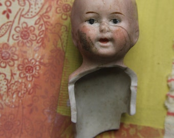 Vintage Porcelain German DOLL with Painted Face- Old Doll Parts- Shamrock Germany- Bisque Face- Broken Doll Parts