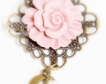 Vintage Rose Flower Brooch with Antiqued Bronze Filigree Backing