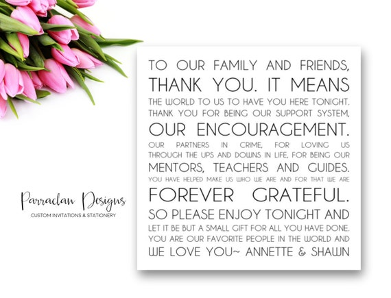 Wedding Reception Thank You Card to Your Guests | To Our Friends and Family | Wedding Favor | FS09