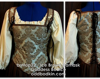 Odd Bodkin Goddess Bodice in Ice Brown Damask - Made to Order - brntap22