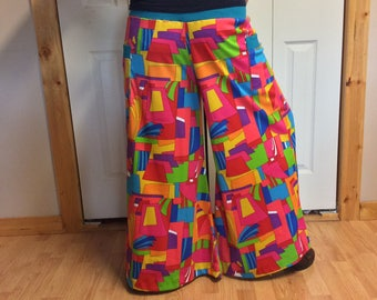Hippie Palazzo Pants with Pockets/Wide Leg/Long Flare Pants/Rainbow/1970s/Psychedelic/Mod/Retro/Funky/Festival/Knit Pants/Womens Size Large
