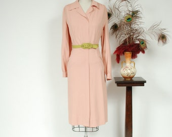 Vintage 1940s Dress - Darling Pale Pink Gabardine Zip Front 40s Day Dress with Full Sleeves and Pockets - Sophrosyne