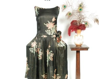 Vintage 1920s Dress - Exquisite and Rare c.1926  Robe de Style Silk and Lamé Floral 20s Dress with Dramatic Pannier Hips and Rosettes