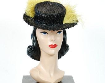 Vintage 1940s Tilt Hat - Jaunty Black Cellophane 40s Tilt Topper with Huge Chartreuse Feather
