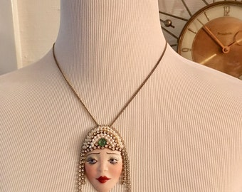 Vintage 80s Does 20s 30s Deco Hand Painted Face Pendant Necklace Beautiful Rhinestone Headpiece