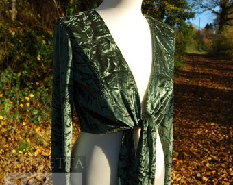 Ready MadeMoss Green Crinkle Crushed Velvet Wrap Top Tie front Ballerina style Woodland Fae  Multi Size