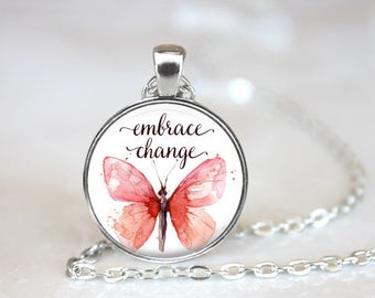 Embrace Change Butterfly Changeable Magnetic Pendant Necklace with Organza Bag
