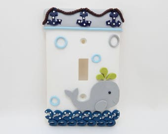 Whale Light Switch or Outlet Cover - Nautical Nursery -  Under the Sea Themed Room Decor - Blue, White, Gray - Toggle or Rocker Decora Cover