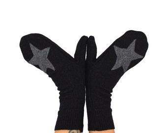 Rockstar Mittens in Black with Grey Stars - Recycled Merino Wool