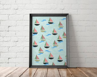 Sailboat Art Print, Nursery Decor, Beach Decor, Large Beach Wall Art