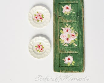 1/12 Scale Painted Shutter and Porcelain Plates