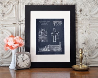 Westminster Abbey cathedral blueprint art, architectural drawing, london art print, architectural wall decor, london gifts for her