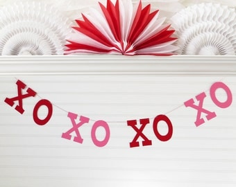 XOXOXOXO Banner - 5 inch Letters - Valentines Day Decor Valentine's Day Banner Valentine Garland Hugs Kisses Banner XO Garland Love Decor