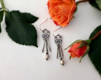 industrial earrings, sterling silver, everyday earrings, ready to ship