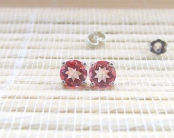 Pink Topaz Gemstone Studs Sterling Silver 6mm On Sale