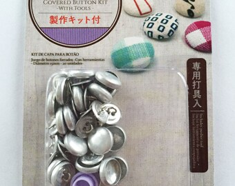Button Covering Kit / Cover Button Kit / Set To Make Fabric Covered Buttons - Makes 20 Buttons 15mm Diameter