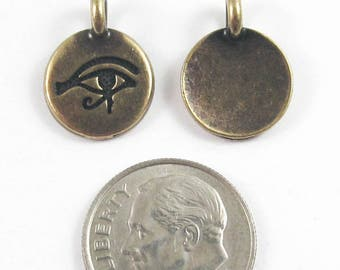 TierraCast Pewter Charms-Brass Oxide Egyptian Eye of Horus 12x16mm (2)