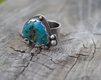 Turquoise Oxidized Sterling Silver Ring Ready to Ship Size 7