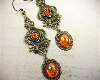 Orange Renaissance Earrings, Tudor, Hyacinth, Medieval Jewelry, Queen, Wedding, SCA Garb, Bridesmaid Earrings, SCA, Queen, Choose Your Color