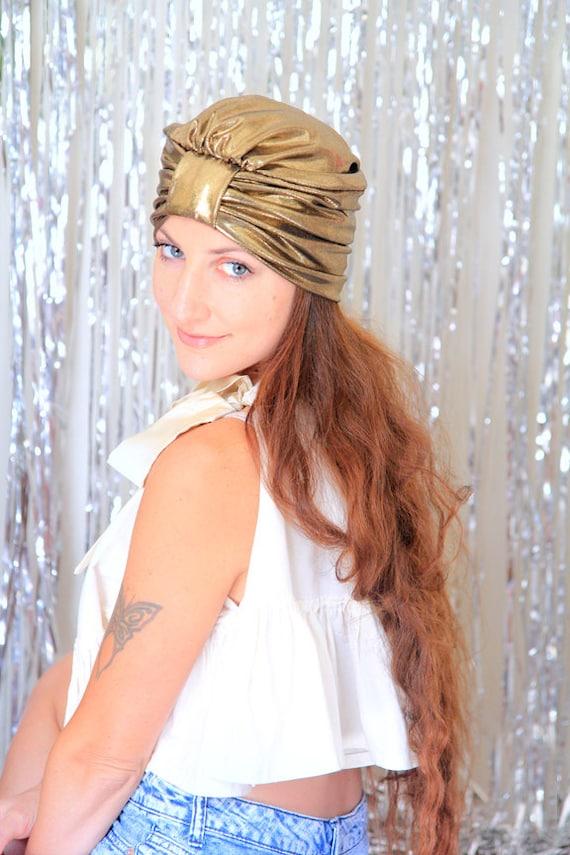 Turban Hat in Gold Metallic - Women's Fashion Head Wrap - Sparkly Full Turbans - Mardi Gras Style