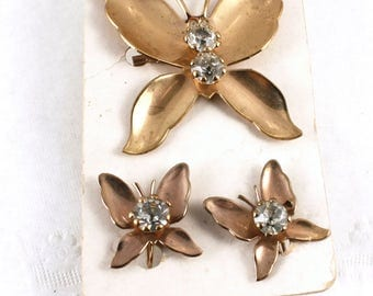 Fly Free - 50s Butterfly Pin & Screw Back Earring Matching 2 Piece Set - Rhinestones - Hey Viv Vintage Jewelry