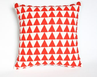 Mountains of Montana - geometric home decor, red triangle pattern, organic hand screenprinted, lumbar and square pillow, customizable