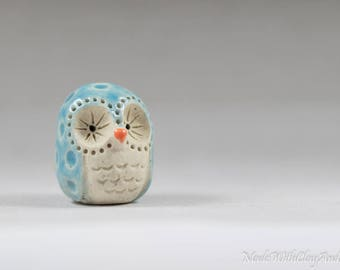 Little Blue Owl - Terrarium Figurine - Miniature Ceramic Porcelain Turquoise Bird Animal Sculpture - Hand Sculpted