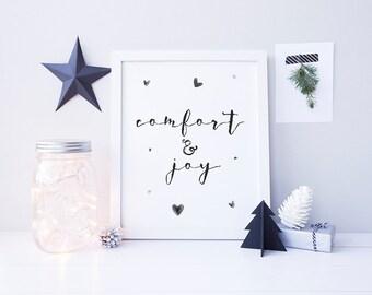 Christmas Wall Art - Comfort and Joy - Printable Christmas Decor - Christmas Sign - Christmas in July - Digital Print - Calligraphy Font